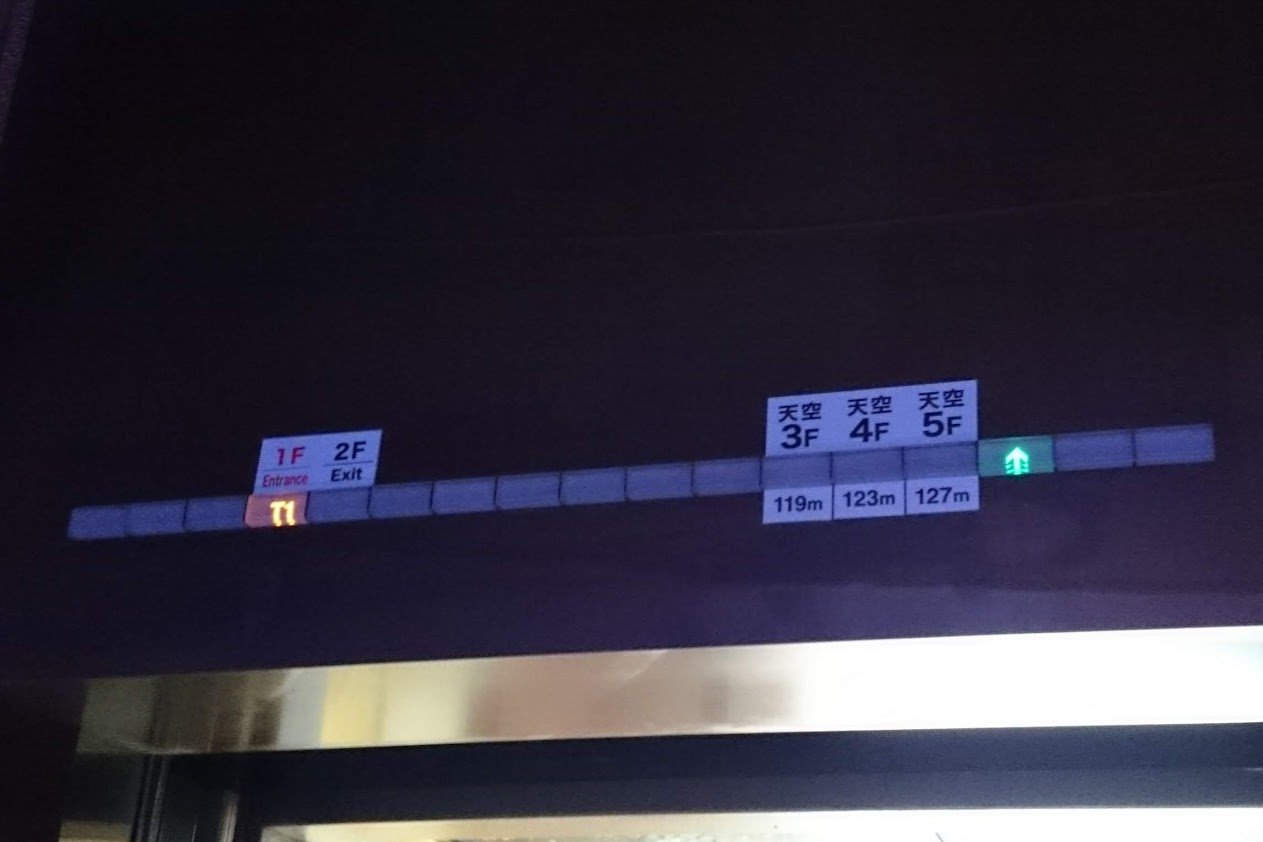 宇多津ゴールドタワーエレベータの表示