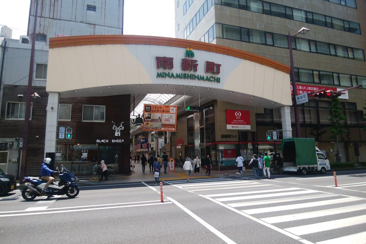 南新町商店街の交差点2020年5月中旬