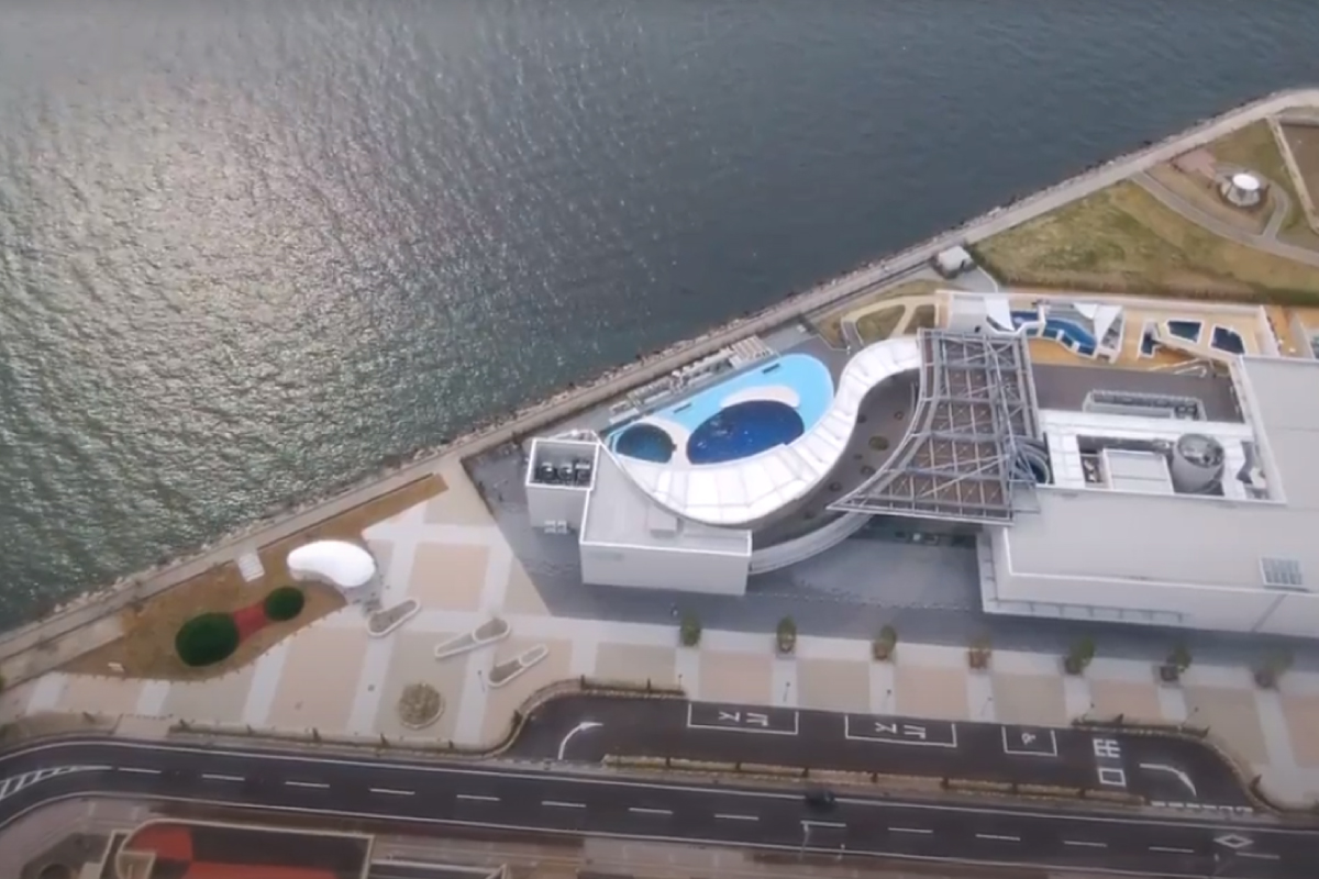 宇多津ゴールドタワーから見下ろす四国水族館
