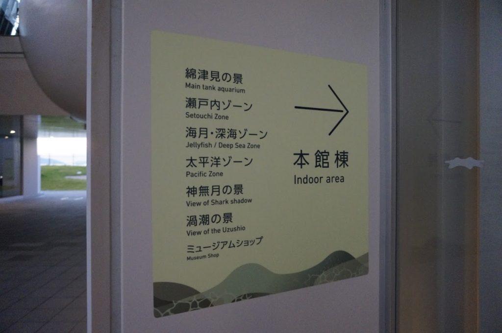 四国水族館本館棟の案内表示
