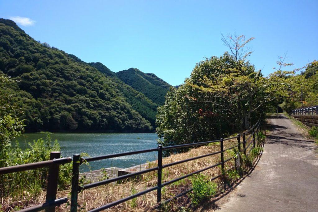 豊稔池 県道の歩道