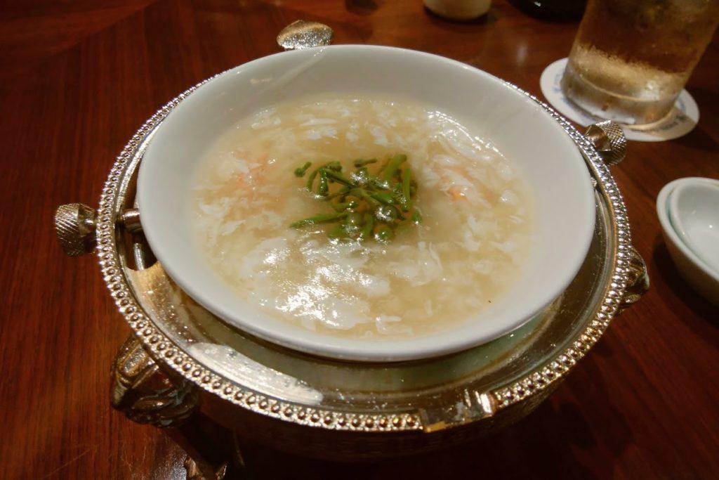 JRクレメント高松2F桃煌美味いもんコースジュンサイと蟹肉入りフカヒレスープ