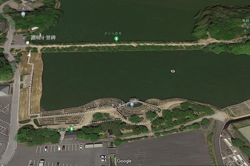 亀鶴公園讃岐十景碑の場所