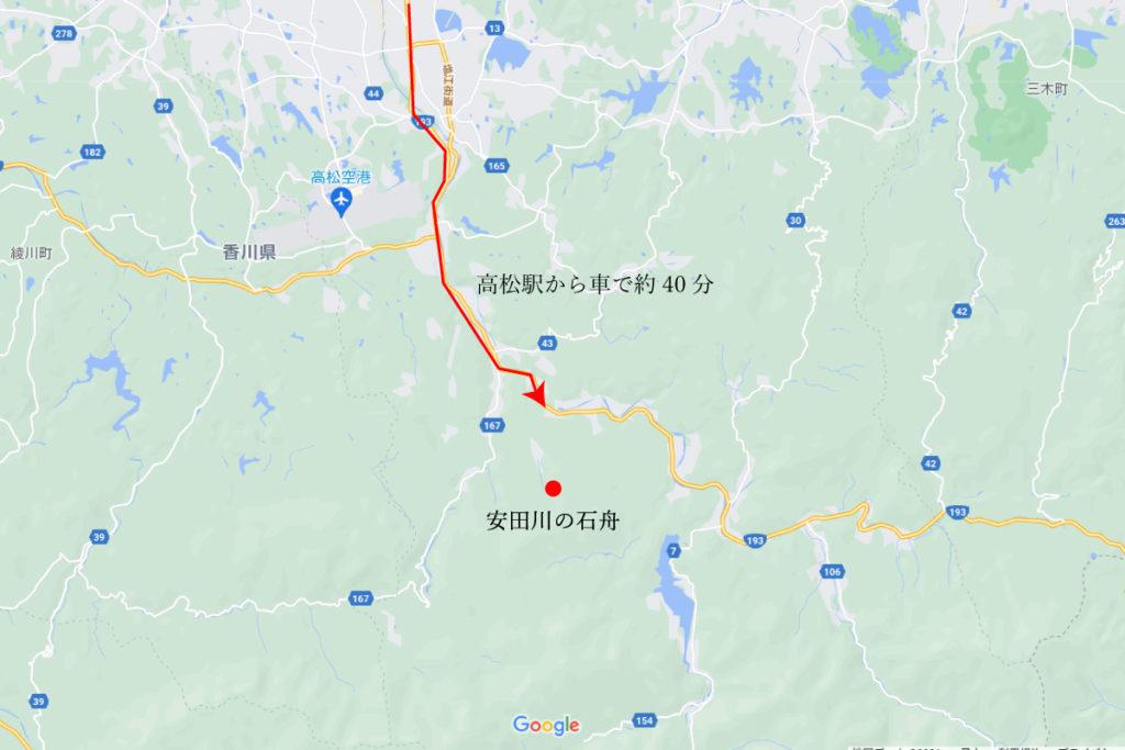安田川の石舟の場所