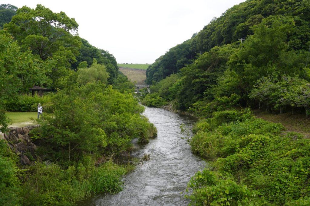 満濃池ゆる抜き後のほたる見公園金倉川