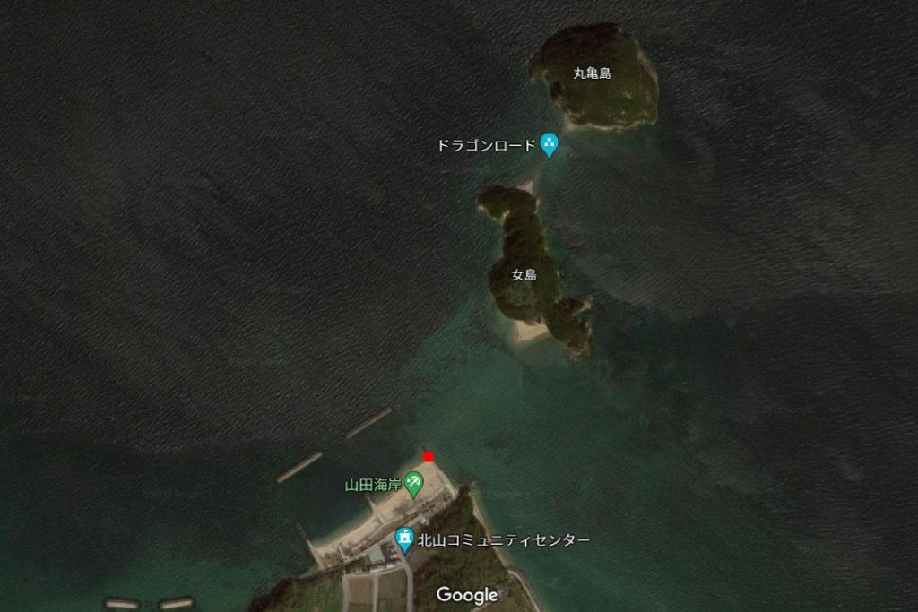 山田海岸から丸亀島(女島・男島)