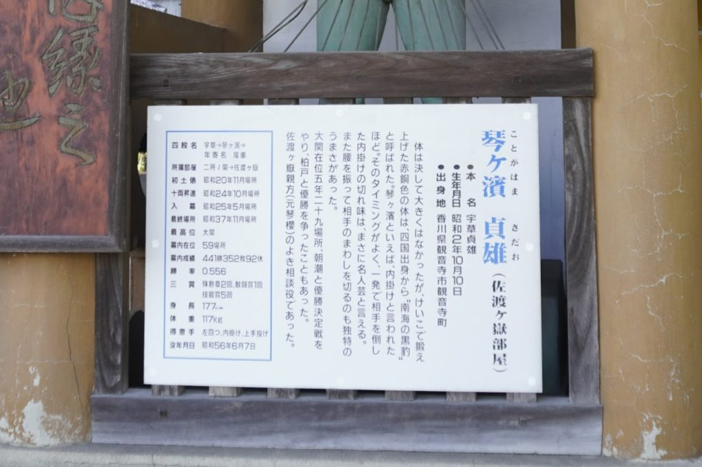 海岸寺 仁王門(二力士門)琴ヶ浜貞雄の説明