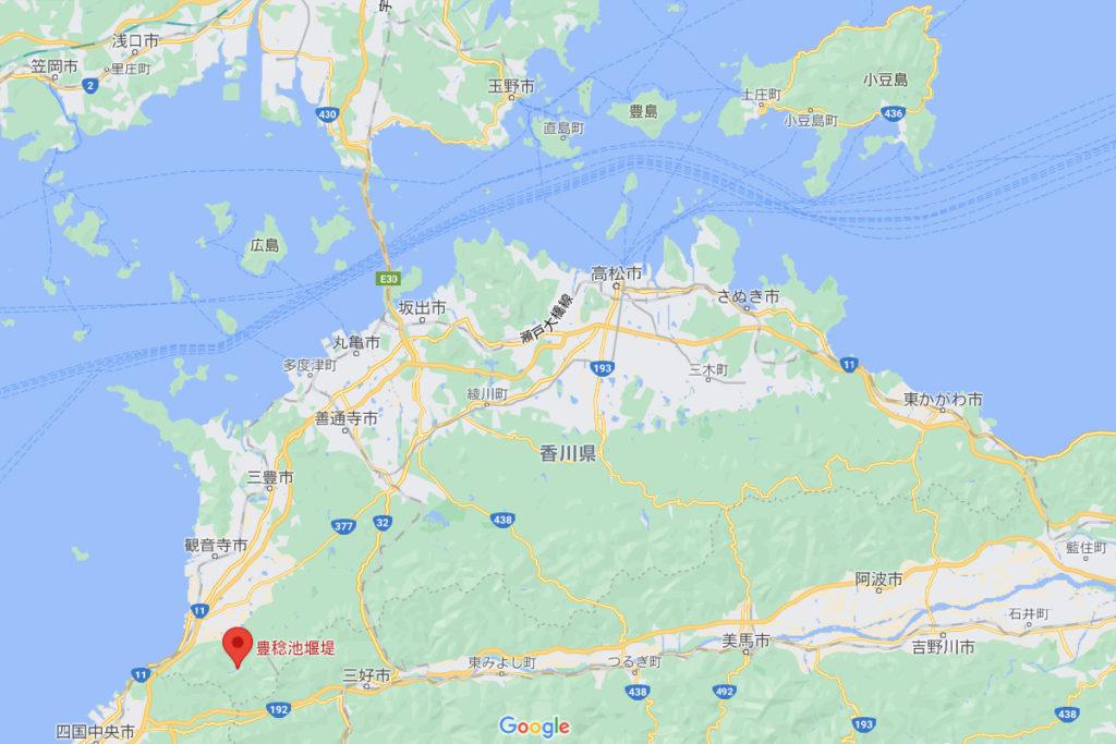 香川県観音寺市豊稔池堰堤の場所